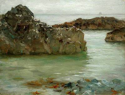 Print featuring the painting Rocks At Newport by Henry Scott Tuke
