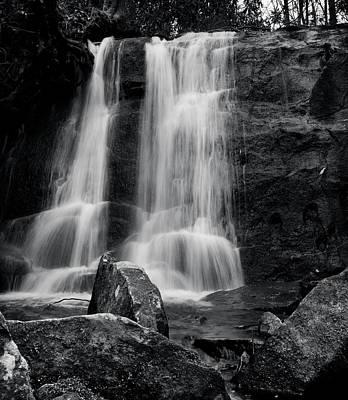 Photograph - Rocks Below The Falls In Black And White by Chrystal Mimbs