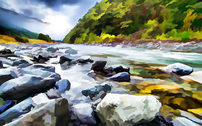 Aotearoa Painting - Rocks In Creek by Lanjee Chee