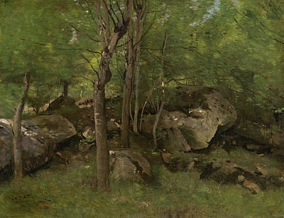 Realism Painting - Rocks In The Forest Of Fontainebleau by Camille Corot