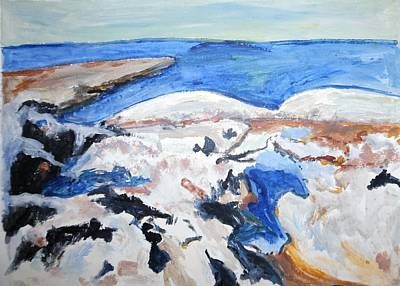Painting - Rocks Meet Sea   by Esther Newman-Cohen