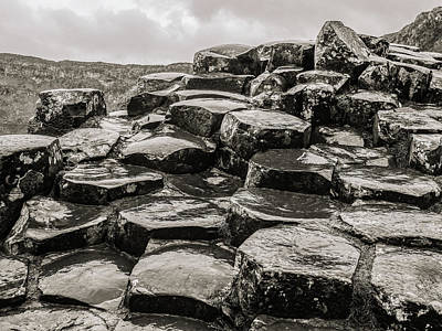 Photograph - Rocks Of Giants Causeway Bw by Lexa Harpell