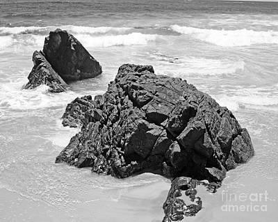 Rocks On A Beach Byron Bay Black And White Image Original