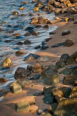 Harmony In Nature - Rocks, Pebbles, And Waves On Sandy Beach Art Print by Aaron Sheinbein