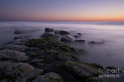 Beach Photograph - Rocks On The Beach At Sunset by Masako Metz