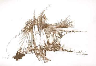 Rocks Stones And Some Grass Art Print by Padamvir Singh