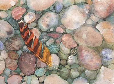 In Earth Tones Painting - Rocks With Feather Watercolor by Michele Angel