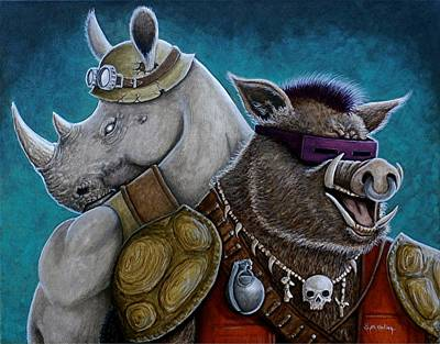 Teenage Mutant Ninja Turtles Painting - Rocksteady And Bebop  by Al  Molina