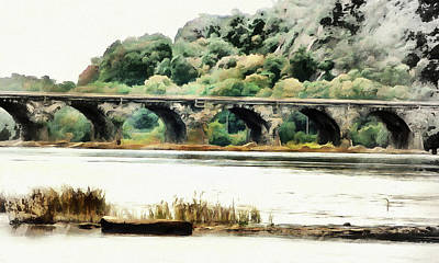 Digital Art - Rockville Bridge On The Susquehanna River by Leslie Montgomery
