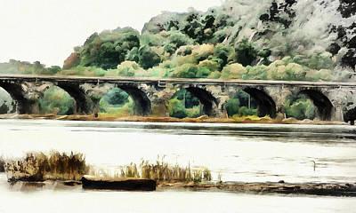 Digital Art - Rockville Bridge On The Susquehanna River by Leslie Montgomery