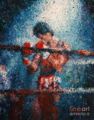 Stallone Painting - Rocky 3 - Alone In The Ring by Bill Pruitt