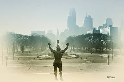 Benjamin Franklin Parkway Digital Art - Rocky At The Top Of The Steps by Bill Cannon