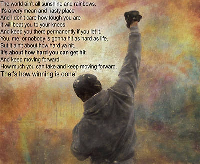 Boxer Mixed Media - Rocky Balboa Inspirational Quote by Dan Sproul