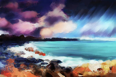 Skyscape Painting - Rocky Beach  by Melanie D