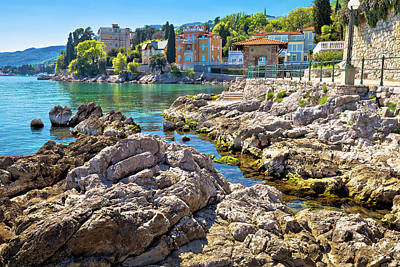 Photograph - Rocky Beach On Lungomare Walkway In Opatija by Brch Photography