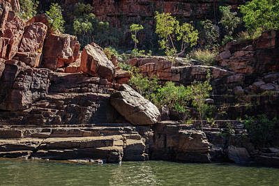 Photograph - Rocky Cliff Face At Katherine River Gorge In Northern Territory by Daniela Constantinescu