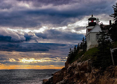 Photograph - Rocky Cliffs Below Maine Lighthouse by Jeff Folger