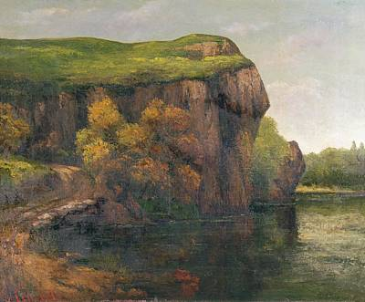 Dole Painting - Rocky Cliffs by Gustave Courbet