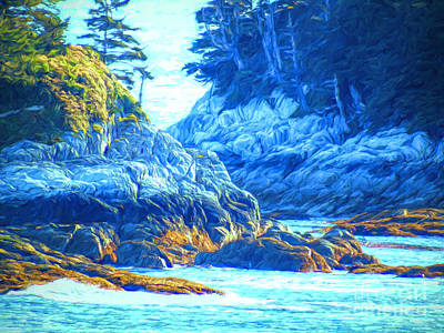 Mixed Media - Rocky Coast - Inside Passage by Susan Lafleur