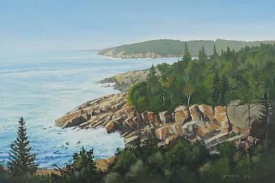 Maine Seacoast Painting - Rocky Coast Of Maine by Bill Tomsa