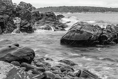 Photograph - Rocky Coast Of Maine In Bw by Doug Camara