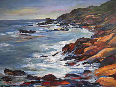 Cloudy Day Painting - Rocky Coast by Pati Maguire