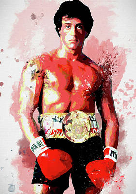Boxer Mixed Media - Rocky Colorful Splatter by Dan Sproul