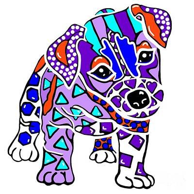Painting - Rocky Dog Puppy Jack Russell Parson Fun Colorful Border Lakeland Kerry Blue Irish Norfolk Terrier   by Jackie Carpenter
