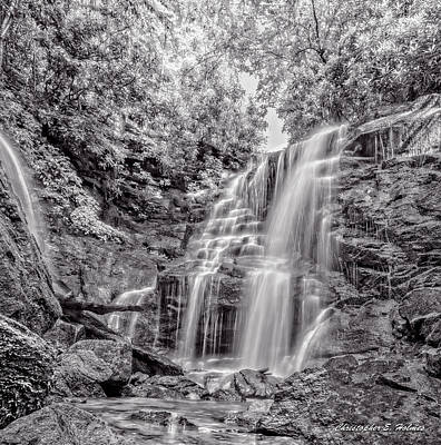 Print featuring the photograph Rocky Falls - Bw by Christopher Holmes