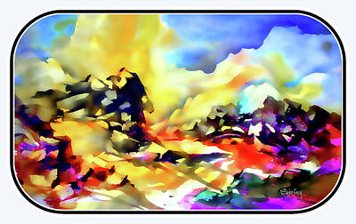 Splashy Art Painting - Magical Rocky Landscape by Carlos Frey