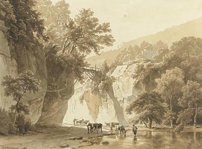 Landscape Art Drawing - Rocky Landscape With Drinking Cows by Barend Cornelis Koekkoek