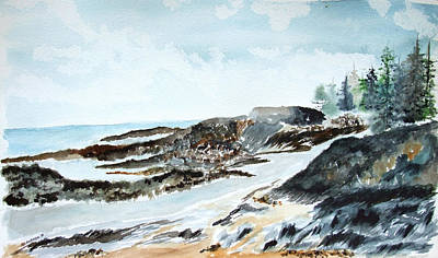 Painting - Rocky Maine Beach by Jan Anderson