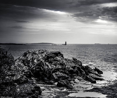 Photograph - Rocky Maine Coastline Black And White by Debra Forand