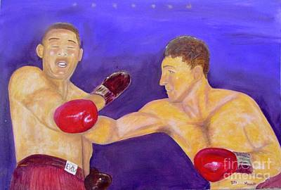Boxer Painting - Rocky Marciano - Joe Louis - Original Oil Painting by Anthony Morretta
