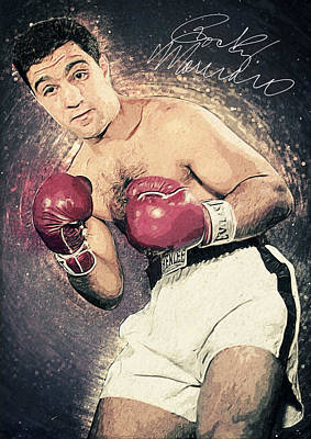 Knockout Digital Art - Rocky Marciano by Taylan Apukovska