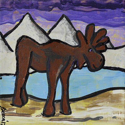 Mixed Media - Rocky Moose by Rebecca Weeks Howard