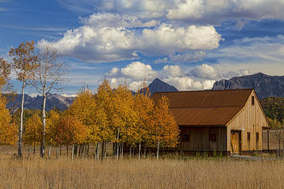 Photograph - Rocky Mountain Autumn Country Barn by James BO Insogna