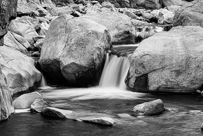 Water Photograph - Rocky Mountain Canyon Waterfall In Black And White by James BO  Insogna