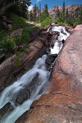 Photograph - Rocky Mountain Emerald Lake Waterfall by Zach Rockvam