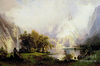 Snowed Trees Painting - Rocky Mountain Landscape by Albert Bierstadt