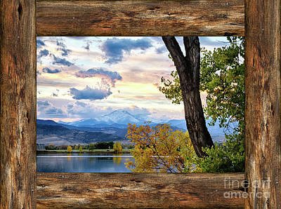 Rocky Mountain Longs Peak Rustic Cabin Window View Art Print