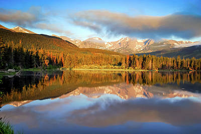 Photograph - Rocky Mountain Morning Landscape Reflections On Sprague Lake by Gregory Ballos