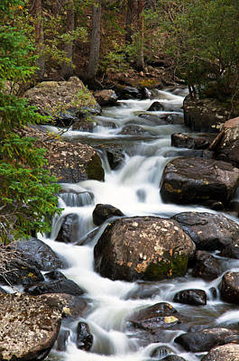 Rocky Mountain National Park Cascade  Print by The Forests Edge Photography - Diane Sandoval