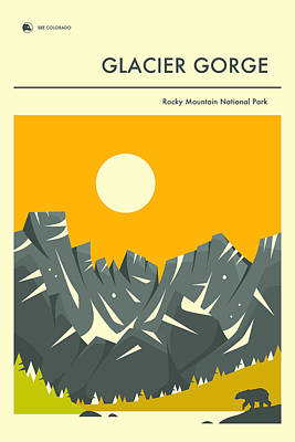 Glacier National Park Digital Art - Rocky Mountain National Park Poster 2 by Jazzberry Blue