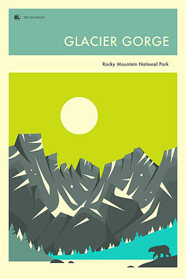 Glacier National Park Digital Art - Rocky Mountain National Park Poster by Jazzberry Blue