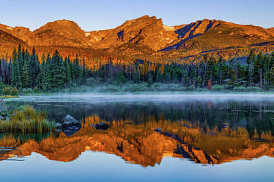 Photograph - Rocky Mountain Park Mountain Landscape - Colorful Sunrise Reflections by Gregory Ballos