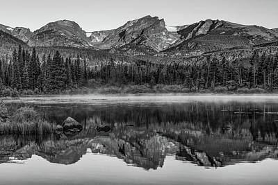 Photograph - Rocky Mountain Park Mountain Landscape - Monochrome Reflections by Gregory Ballos