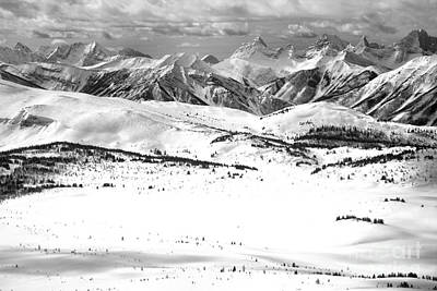 Photograph - Rocky Mountain Peaks Towering Over The Slopes Of Sunshne Black And White by Adam Jewell