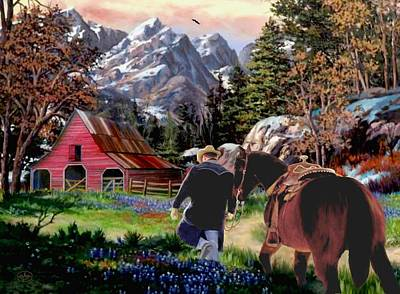 Horse In Autumn Painting - Rocky Mountain Ranch Ver2 by Ron and Ronda Chambers