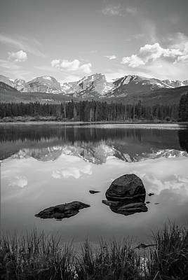 Photograph - Rocky Mountain Reflections In Black And White - Estes Park Colorado Art by Gregory Ballos